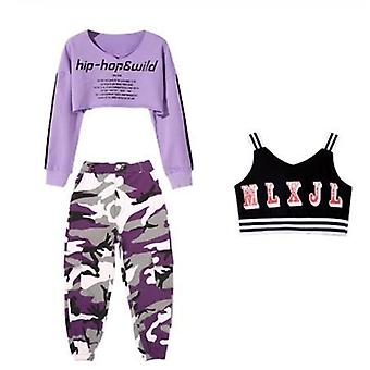 Jazz Dance Costume Kids Hip Hop Clothing Long Sleeve Tops Camouflage Pants Vest