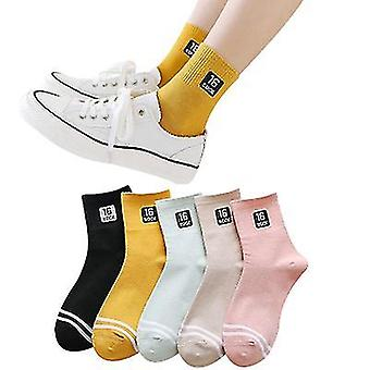 College Style Socks Ladies Winter Tube Socks Student Casual Breathable Socks Skin-friendly And Comfortable,5 Pairs