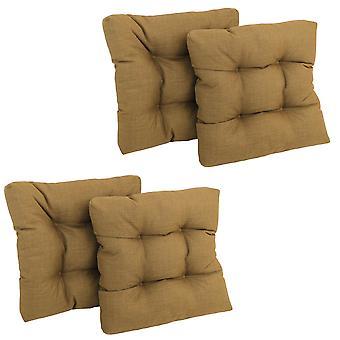 Coussin de chaise de salle à manger tufté en polyester filé carré de 19 pouces (ensemble de quatre) - Blé