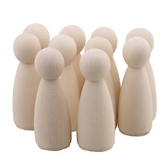 10 x Painted Art Wooden People Peg Dolls Craft Figurine 65mm Woman Doll