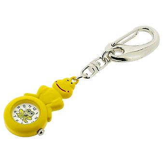 GTP Ladies-Teens Yellow Frog on Ball Key Ring Clock Hand Painted On Alloy In Presentation Box IMP728