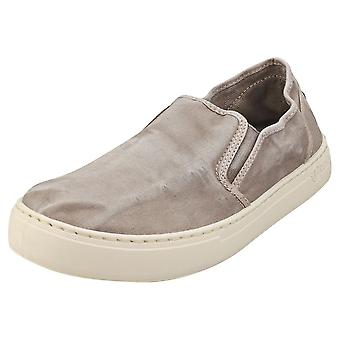Natural World Old Gazelle Mens Slip On Shoes in Grey