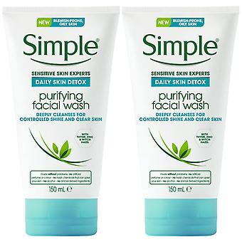 2x150ml Simple SensitiveExpert Purifiant FacialWash pour la peau grasse sujette aux imperfections