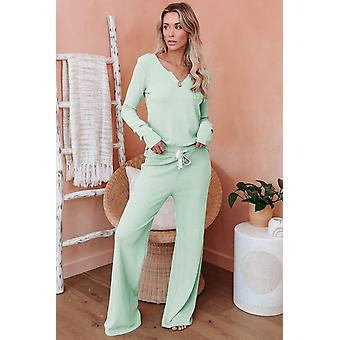 Green Cotton Modal Long Sleeve Shirt And Pants Loungewear