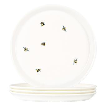 4x Bee Casual Side Plates Patterned Porcelain Snack Dessert Dishes 21.5cm White