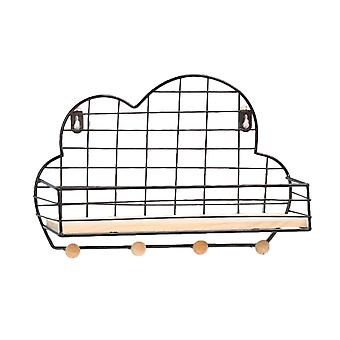 Cloud Style Wall Mount Key Rack Organizador con 4 Ganchos Negro