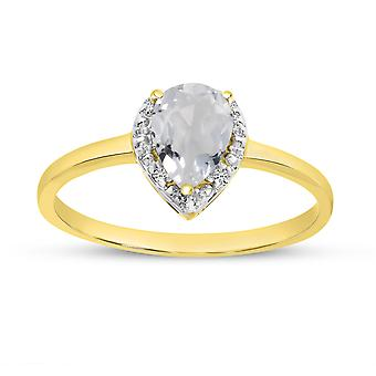 LXR 14k Yellow Gold Pear White Topaz and Diamond Ring 0.82 ct