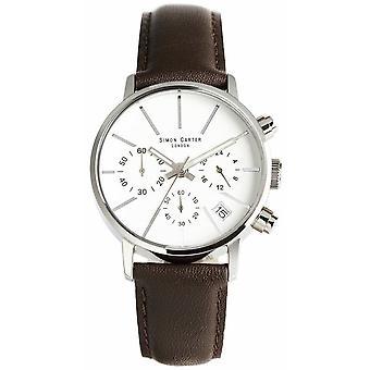 Relógio Cronógrafo Simon Carter - Branco/Marrom