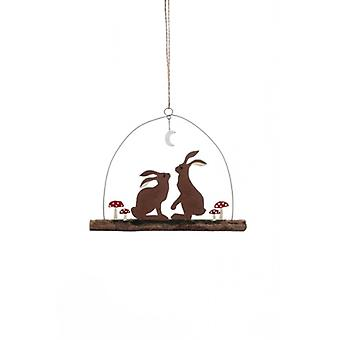Hare and Toadstools Christmas Hanger