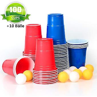 FengChun 100x Trinkbecher Beer Pong Becher Partybecher Set Rot und Blau 473ml Cups mit Bllen, 16oZ