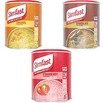 SlimFast KIT Made of High Protein Meal Replacements Shakes (Chocolate 300g, Summer Strawberry 292g, Caramel 292g), 3 Flavours in One Handy Kit