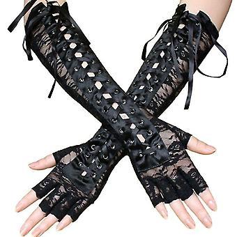 Women Sexy Long Gloves, Winter Half-finger Gloves