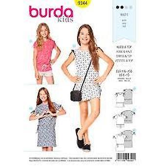 Burda Sewing Pattern 9344 Girls Childs Dress Top Size 6-13 Uncut
