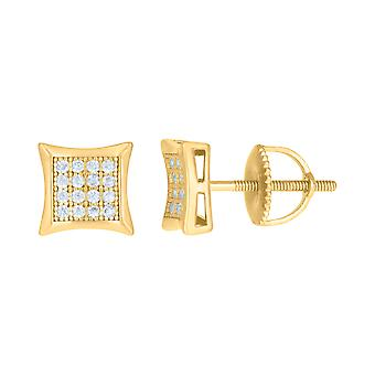 925 Sterling Silver Yellow tone Mens Cubic zirconia Concave Square Fashion Stud Earrings Jewelry Gifts for Men