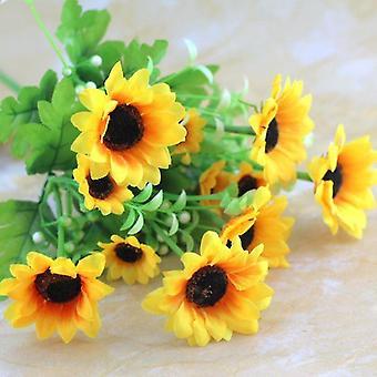 5Pcs人工花の太陽菊は、新鮮な花のバレンタインデーの贈り物は、女性のための乾燥花偽の花の贈り物を保存しました
