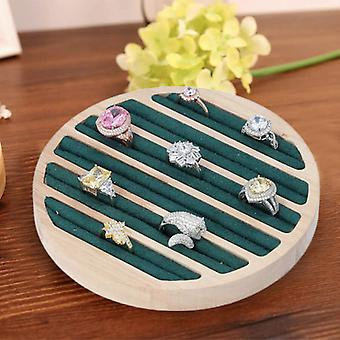 Round Bamboo Ring Tray with 6 Black/Green/Purple Velvet Slots (Size 15x1.7cm)