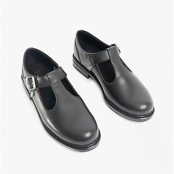 Kickers Lach T-bar Girls Leather Shoes Black