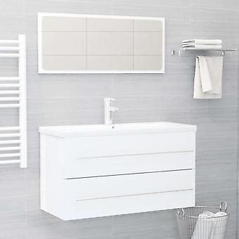vidaXL 2-tlg. Kit de meubles de salle de bains panneau de particules brillant-blanc