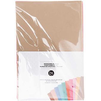 10 Blandade ark av A4 Naturliga Pastell Craft Foam - 2mm Tjock