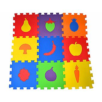 Matrax Eva Puzzle Play Mat, Fruits, 33Cm X 33 Cm X 7 Mm, 9 Pieces, Bpa Free, Safe, Educational And Brain Training Toy For Kids