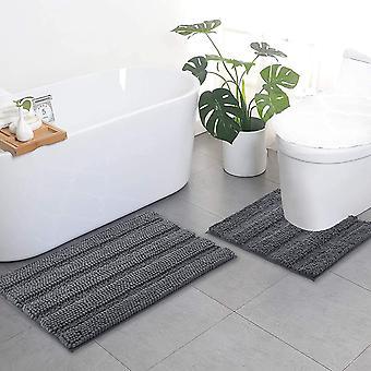 Tapis de salle de bain gris, ensembles de tapis de contour, tapis de bain extra épais, tapis de bain hirsutes en peluche doux antidérapants (50 x 80cm plus 50 x 50cm u)
