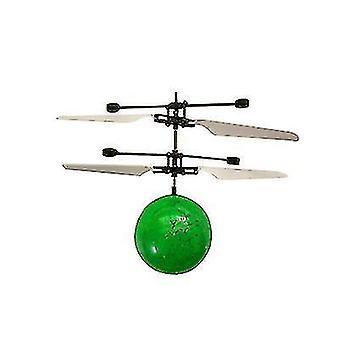 Barn Utendørs håndsensor kontroll Led Blinkende Ball helikopter Fly (Grønn)