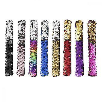 Klap armband8pcs magische pailletten zeemeermin armbanden polsbandjes voor kinderen kleine gunsten geschenken verjaardagsfeest gunsten tassen benodigdheden, kleur mengen