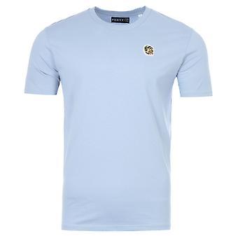 Forty Ben Camo Badge Organic Cotton T-Shirt - Cyanus Blue