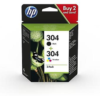 HP 304 2-pack black/tricolor original ink cartridges, Standard yield, Pigment-based ink, 4 ml, 2 ml, 2 pieces, Multipack