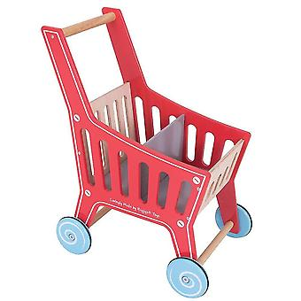 Pretend shopping grocery wooden supermarket shopping trolley - pretend play shop and role play for kids