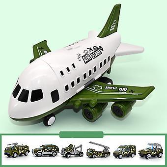 6pcs合金軍用車両と大型子供の飛行機のおもちゃモデルグリーン