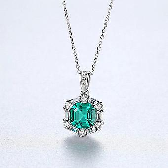 Gorgeous Big Emerald Brilliant Pendant Necklace For Women 100% Real 925 Silver |Necklaces