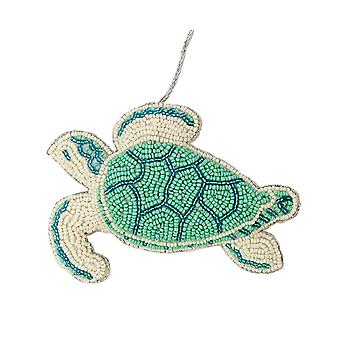 Seafoam Green and Blue Beaded Sea Turtle Christmas Holiday Ornament