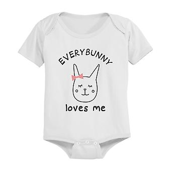 EveryBunny Loves Me Cute Graphic Design Printed White Baby Bodysuit