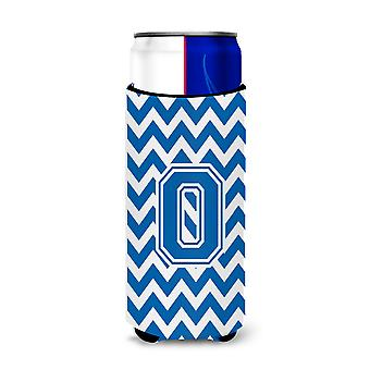 Letter O Chevron Blue and White Ultra Beverage Insulators for slim cans