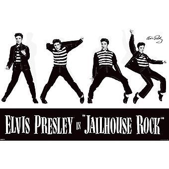 Элвис Пресли - Тюремный рок - белый Плакат Плакат Печать