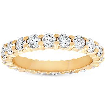 2ct Prong pierścionek wieczności 14K żółte złoto