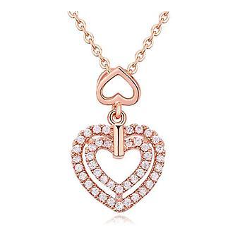 Kvinnors flickor Dubbel hjärta hängsmycke halsband i Rose Gold