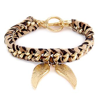 Ettika - Yellow Gold Wings Bracelet and Cotton Ribbons Printed Leopard 2377