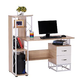 HOMCOM Computer Writing Desk PC Workstation w/2 Drawers Multi-Shelves Home Office Furniture