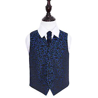 Musta & sininen Swirl Wedding liivi & Cravat Set pojille