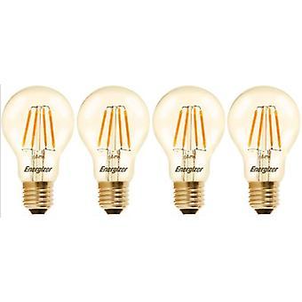 4 X Energizer GLS Globe Antique Gold Finish LED Filament Energy Saving Light Bulb E27 ES Edison Screw Fitting [Energy Class A+]
