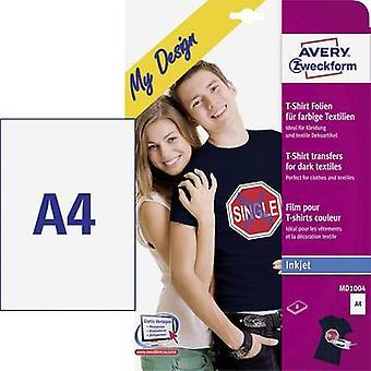 Avery-Zweckform My Design T-shirt MD1004 atramentové transfer papier A4 pre farebné tkaniny, optimalizované pre atramentové tlačiarne 8 list