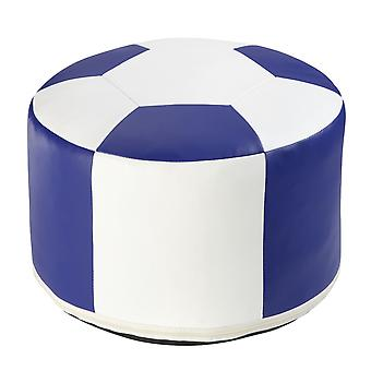 Football cushion synthetic leather white / blue Ø 50/34 cm