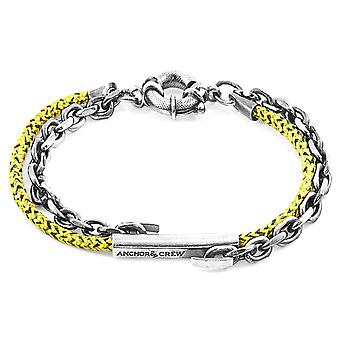 Anchor & Crew Yellow Noir Belfast Silver and Rope Bracelet