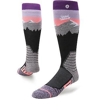 Holdning hvit caps Snow sokker i Purple