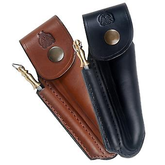 Shaped leather sheath for Laguiole with sharpener - Color - Black Direct from France