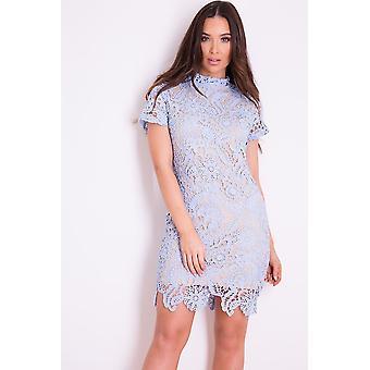 Powder Blue Lace Mini Dress