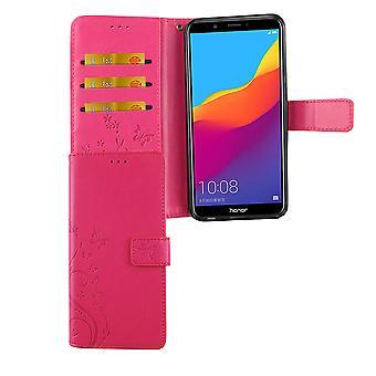 Huawei Honor 7C Handy-Hülle Schutz-Tasche Cover Flip-Case Kartenfach Pink