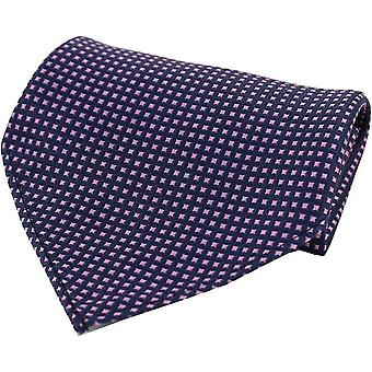David Van Hagen Box Pattern Silk Pocket Square - Navy/Pink